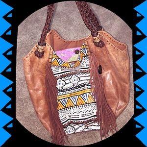 🆕 Bag-Hobo-Indio Leather Southwest Print, Fringe
